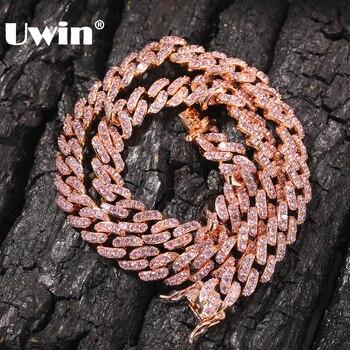 UWIN 9mm glacé femmes collier ras du cou Rose or métal lien cubain plein avec Rose cubique zircone pierres chaîne bijoux