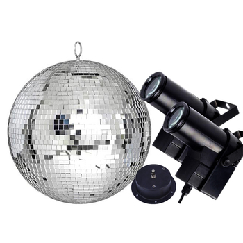 Thrisdar Dia25CM 30CM Disco Mirror Ball Complete Party Kit With 10W RGB LED Pinspot Lamps and Motor KTV Wedding Disco Ball Light