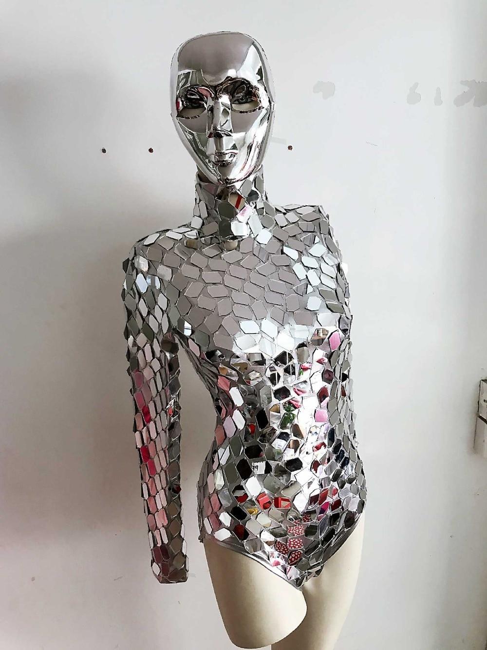 Silvery Mirrors Leotard Jumpsuit Future Show Space Shining Sequins Bodysuit Machine Dance Costume  Lady Jazz Dance Wear