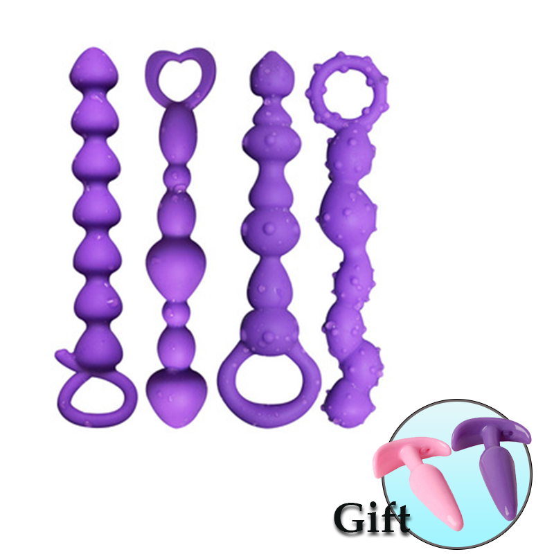 Silicone Long Anal Plug Butt Plug Heart Shape Anal Beads Bdsm Sex Erotic Sex Toys For Gay Man