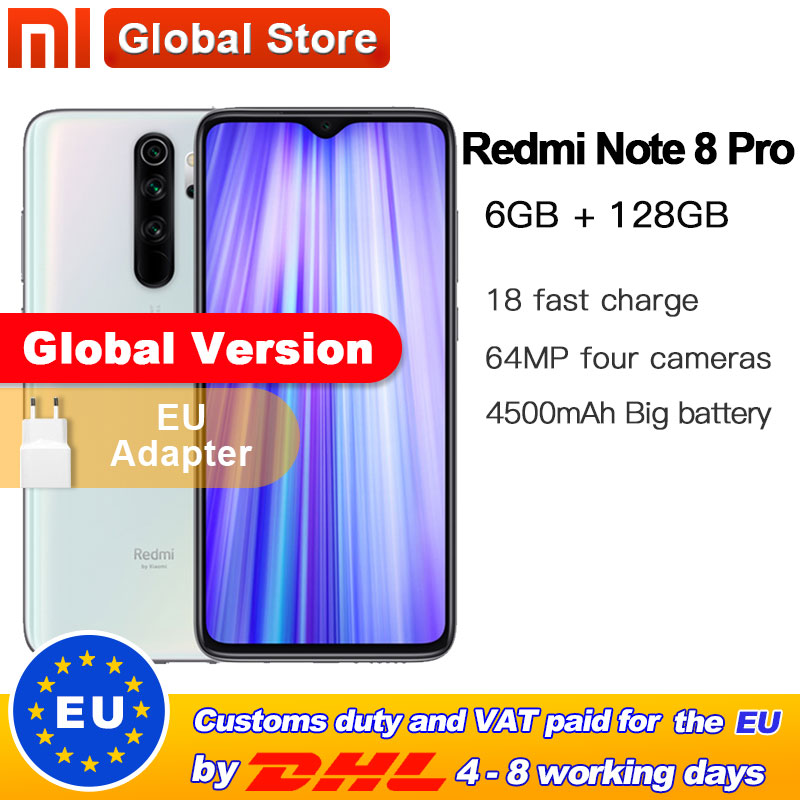 Global Version Xiaomi Redmi Note 8 Pro 6GB 128GB Mobile Phone 64MP Quad Camera MTK Helio G90T Smartphone 4500 NFC