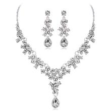 цена на 2Pcs Bride Floral Jewelry Set Rhinestone Necklace & Earrings Graceful Ornament Valentine's Day Birthday Gifts