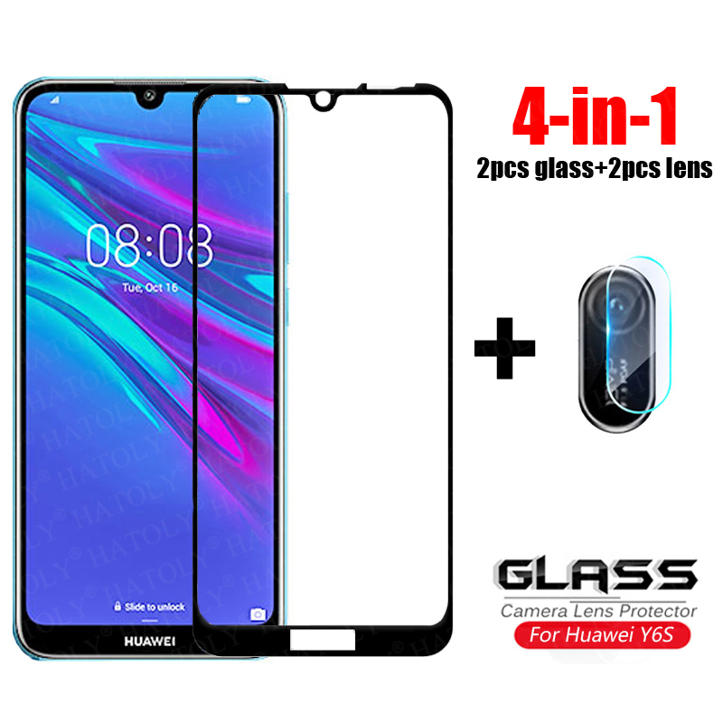 4-in-1 For Glass Huawei Y6S Tempered Glass Huawei Y6S Y9S Camera Lens Screen Protector Full Cover Film Glass For Huawei Y6S 2020