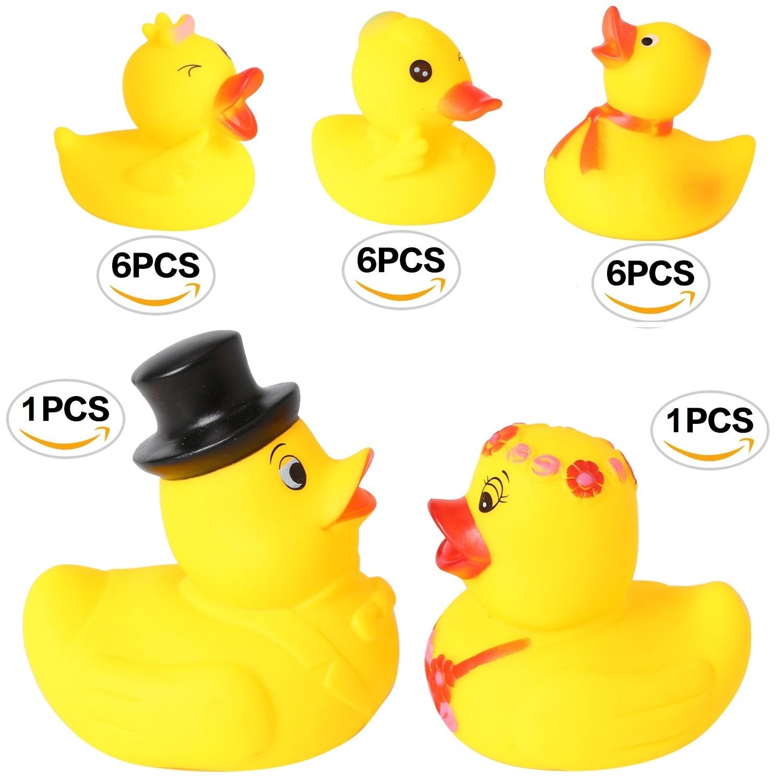 6pcs Rubber Sqeeze-sounding Bath Duck Baby Bathtub Toys
