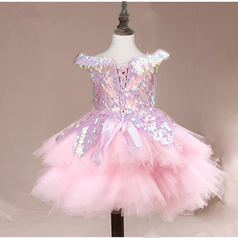 2019 New Style Children Host Formal Dress Costume Short Tailing Pink Sequin Princess Tailing Deconstructable Catwalks