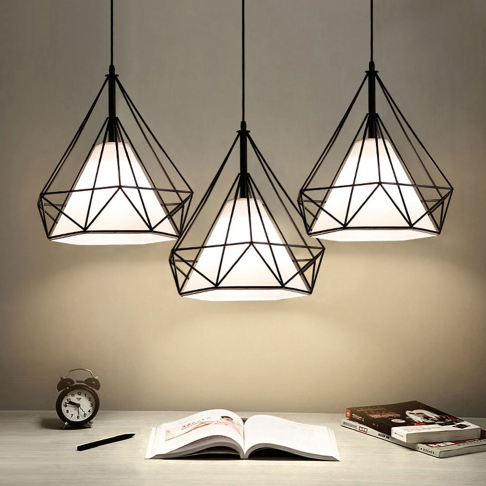 الحديثة قلادة ضوء أسود الحديد قفص معلق خمر Led مصباح E27 الصناعية لوفت الرجعية غرفة الطعام طاولة بار مطعم من الكونتر