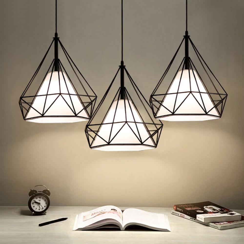 Modern Pendant Light Black Iron Hanging Cage Vintage Led Lamp E27 Industrial Loft Retro Dining Room Restaurant Bar Counter