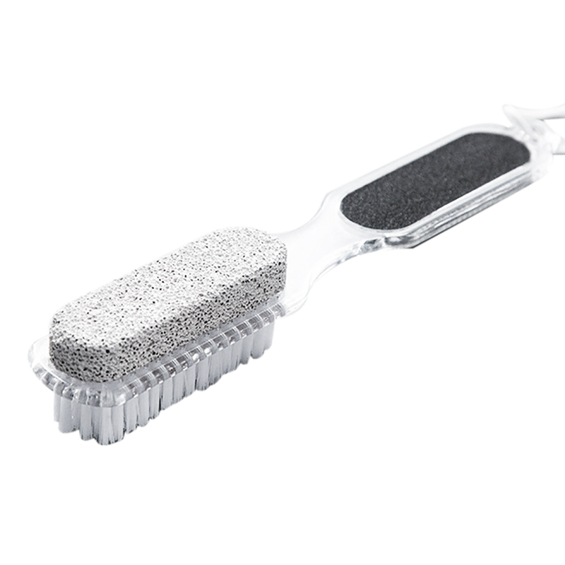 HOT!-Home Foot Pumice Stone 4 In 1 Stone Dead Skin Remover Brush Pedicure Grinding Double Head Cleaning Brush - Janitorial & San