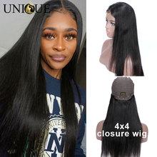 4x4 Lace Closure Wigs Human Hair Malaysian Straight