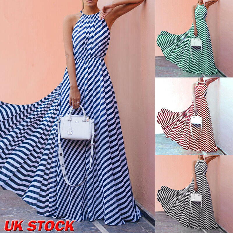 Womens Ladies Beach Style Stripe Sleeveless  Empire Waistline Sashes Sundress Summer Holiday Strappy Long Maxi Dress 6-16