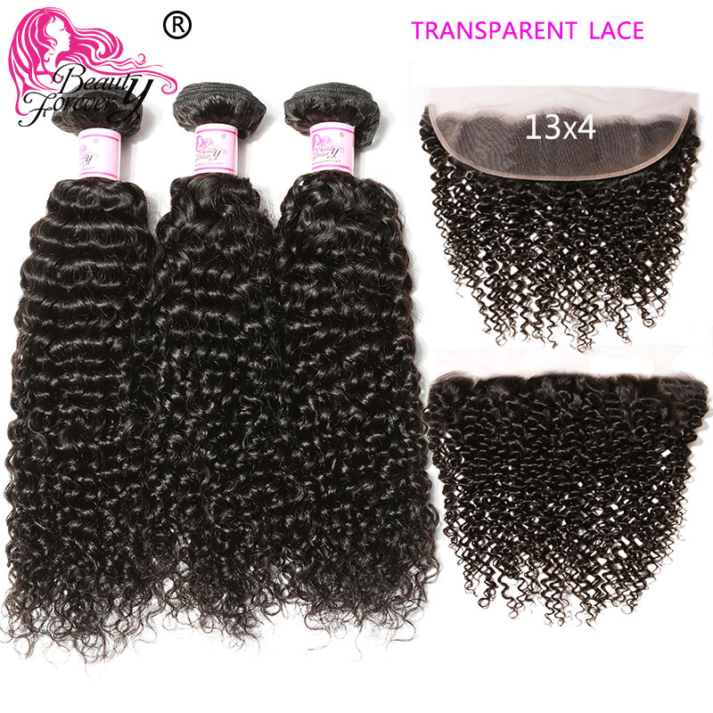 Beauty Forever Malaysian Curly Hair Bundles With Lace Frontal 13*4 Free Part Transparent Lace Frontal 100% Remy Hair