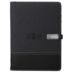 Qi Wireless Charging zeszyt Power Bank Notebook wielofunkcyjny 8000MAh Power Bank Binder spiralny pamiętnik + dysk flash usb w Zeszyty od Artykuły biurowe i szkolne na