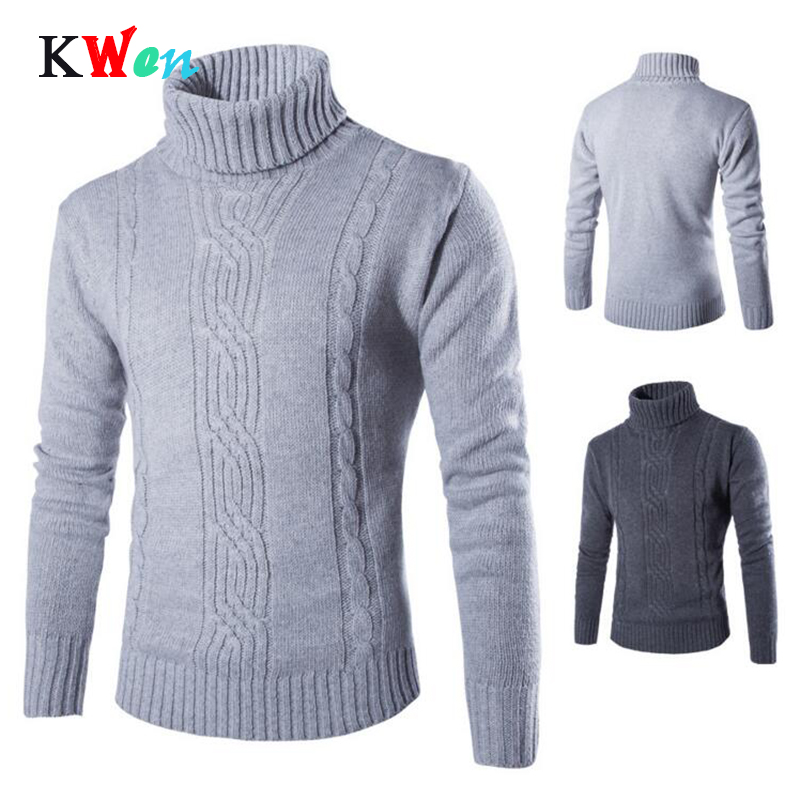 2018 Male Sweater Pullover Slim Warm Solid High Lapel Jacquard Hedging British Men's Clothing Mens Turtleneck