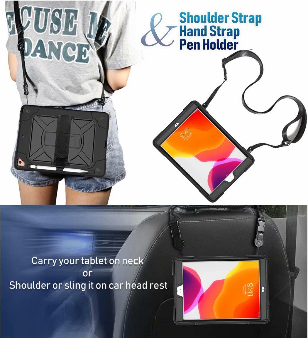 For iPad 8th Generation Case 2020 Pencil Holder Heavy Duty Rugged Shockproof Hybrid Armor Case Hand