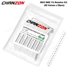 1200 Pcs SMD 0603 Resistors Assorted Set (60 Values x 20Pcs) 0ohm - 10M Ohm 1/10 Watt 1% High Precision Film Chip Resistance Kit