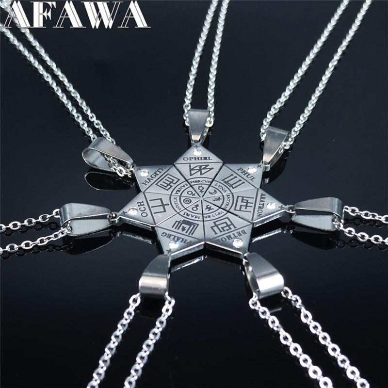 Colar pingente de clavícula nox, 7 peças, aço inoxidável, jóias escondidas, satanic, símbolo da camisa, cadenas mujer n1052s02
