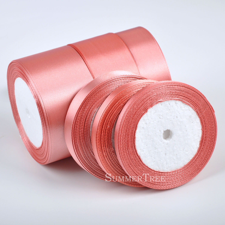 1 рулон кораллового цвета 25 ярдов 6 мм-50 мм атласная лента пояс подарок бант ручная работа, сделай сам, ремесло для свадебной вечеринки банкетное украшение