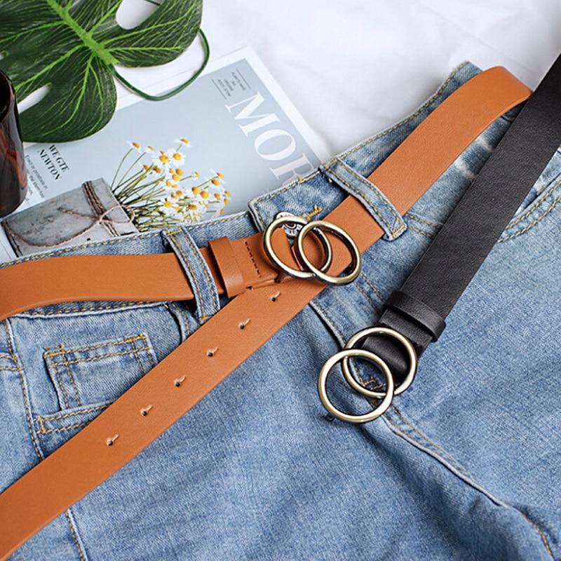 Women Girls Leather Belt Round Ring Metal Double Buckle Belt Waistband Belts Elegent For Women's Jeans