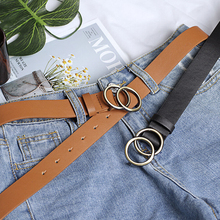 Women Girls Leather Belt Round Ring Metal Double Buckle Waistband Belts Elegent For Womens Jeans
