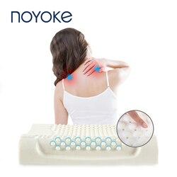 NOYOKE ortopédicas de látex almohada de cama de masaje marca de sueño cuello cervical almohada suave para dormir
