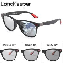 LongKeeper Polarized Photochromic Sunglasses Men Vintage Rivet Chameleon Sun Glasses Change Color Square Goggles Oculos UV400