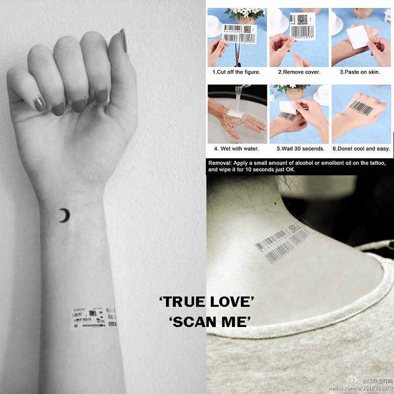 True Love Fake Barcode Scan Me Waterproof Temporary Tattoos Selfie Tattoo Sticker for Men /Women Individuality 3D Barcode Design