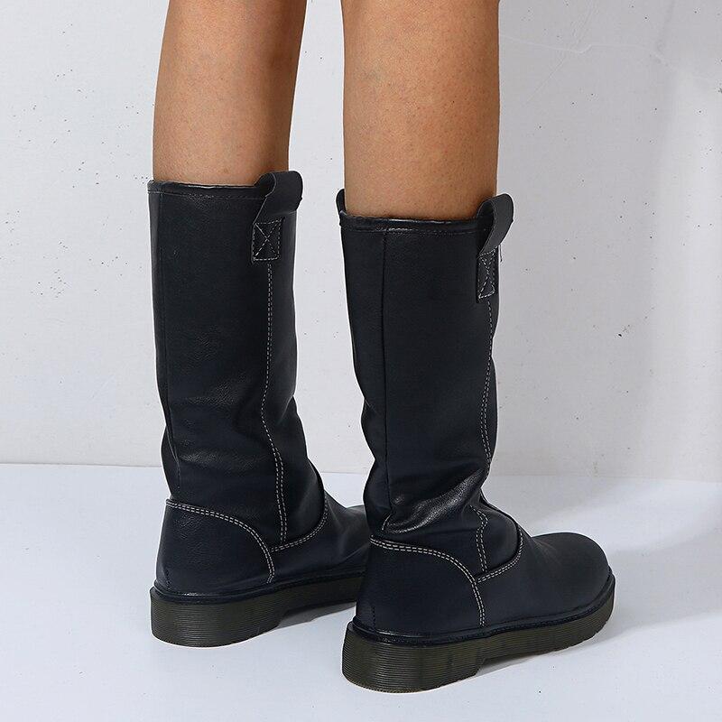 qualidade cor sólida botas altas senhoras 2020