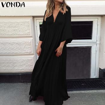VONDA Summer Dress 2019 Sexy 3/4 Sleeve V Neck Solid Color Party Eveing Dresses Loose Bohemian Vestidos Plus Size Sundress S-5XL 2