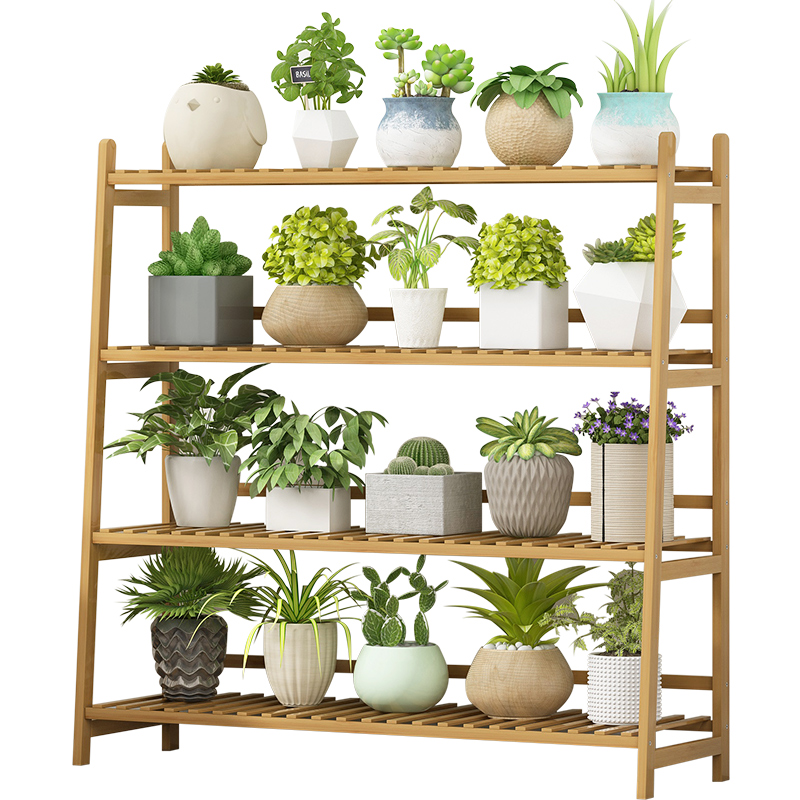 Showy Balcony Decorate The Living Room Floor Solid Wood More Meat Money Plant Shelf Indoor Pot Multilayer Plants