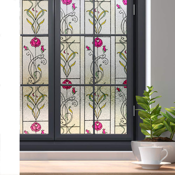 LUCKYYJ Self-adhesive Privacy Window Film Door Film Static Cling Decorative Window Glass Sticker for Home Office UV Protection custom window film static glass film sliding door closet door decorative film birds translucent flowers frosted glass stickers