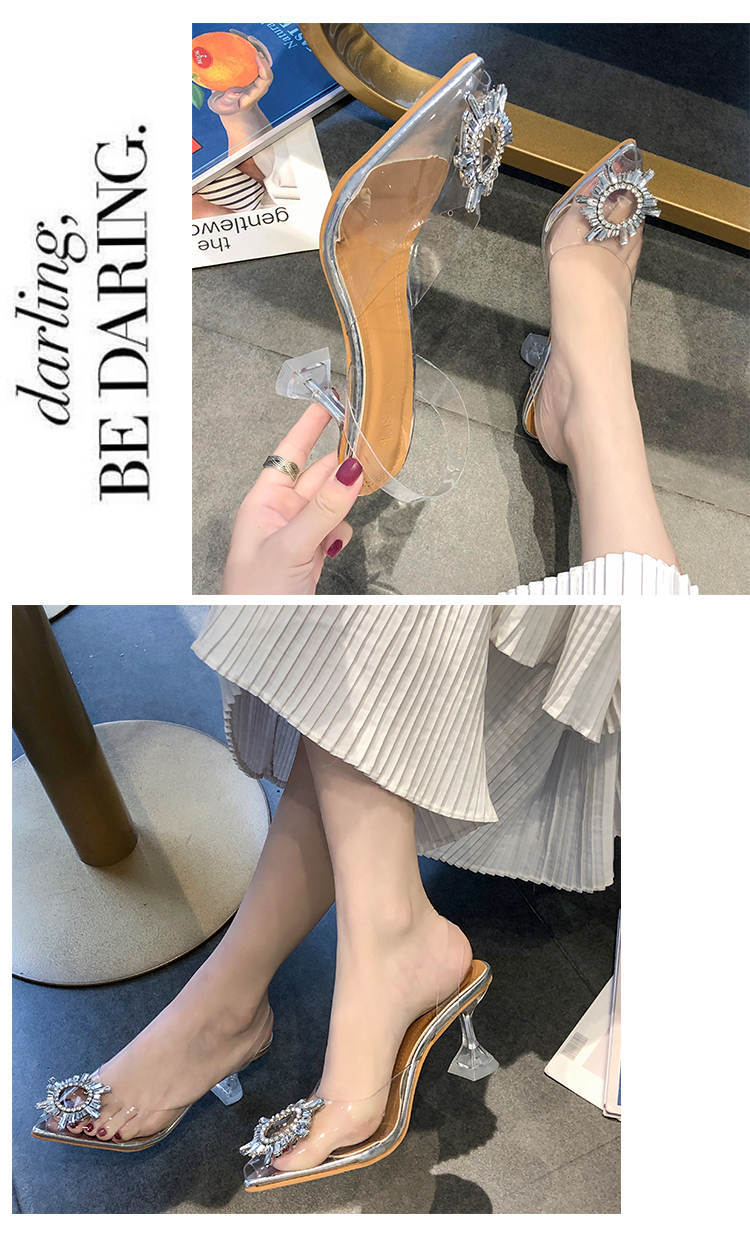 Luxury Women Pumps 2019 Transparent High Heels Sexy Pointed Toe Slip-on Wedding Party Brand Fashion Shoes For Lady Size 34-41