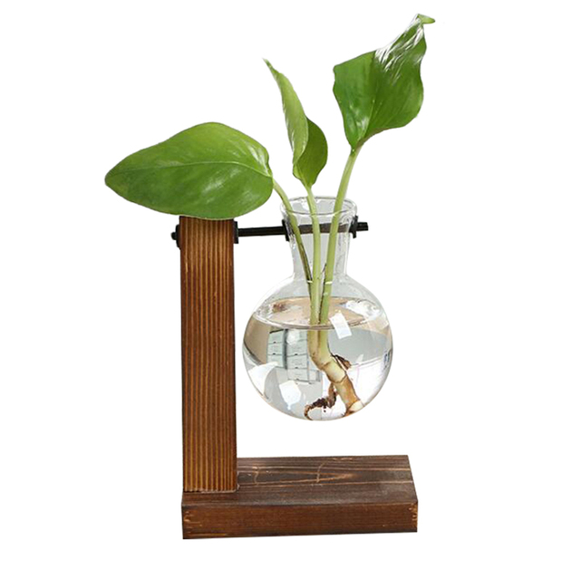 Terrarium Hydroponic Plant Vases Vintage Flower Pot Transparent Vase Wooden Frame Glass Tabletop Plants Home Bonsai Decor 3