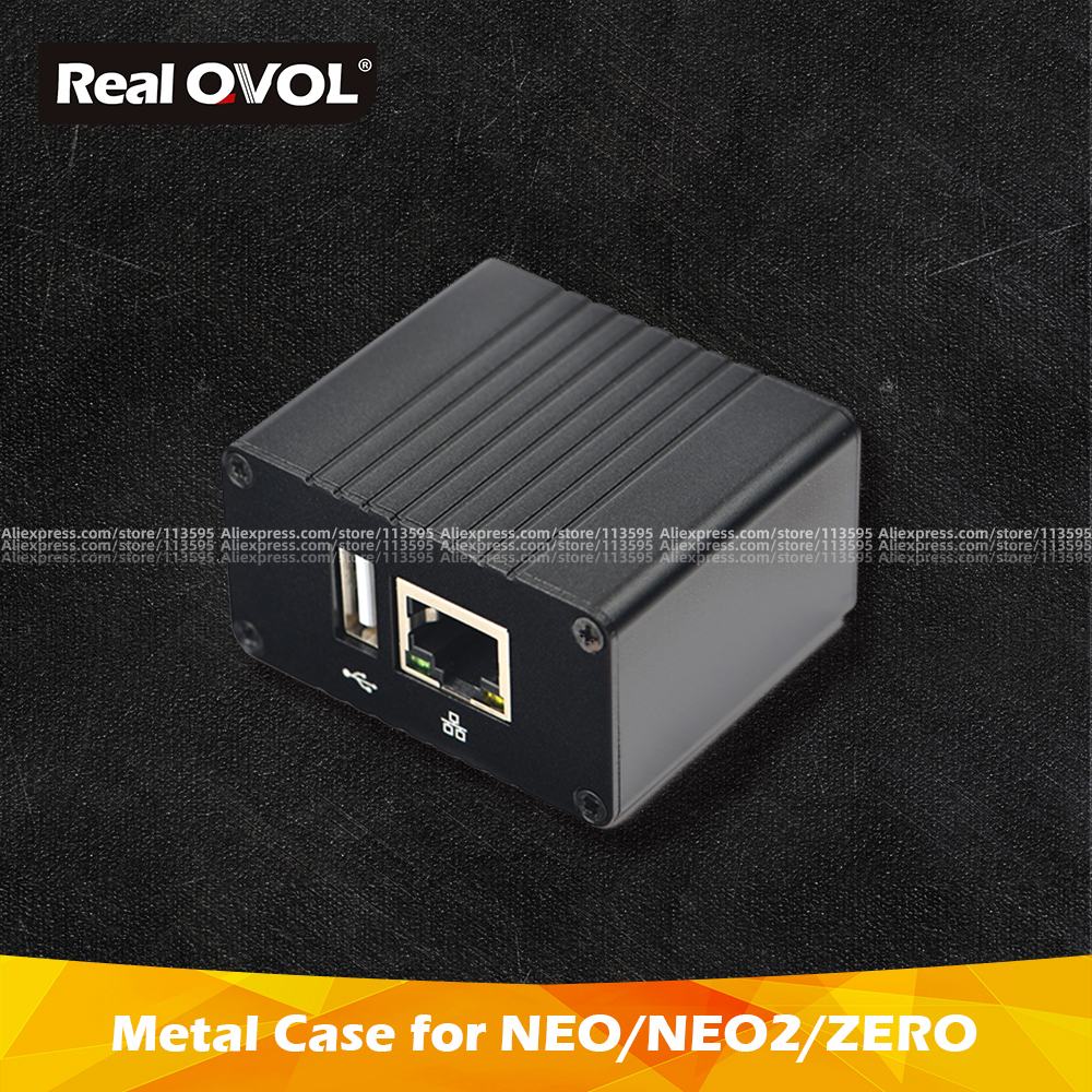 RealQvol FriendlyARM NEO/NEO2/ZERO/NEO2 Black Demoboard Metal Case Heat Sink Outer Box Case