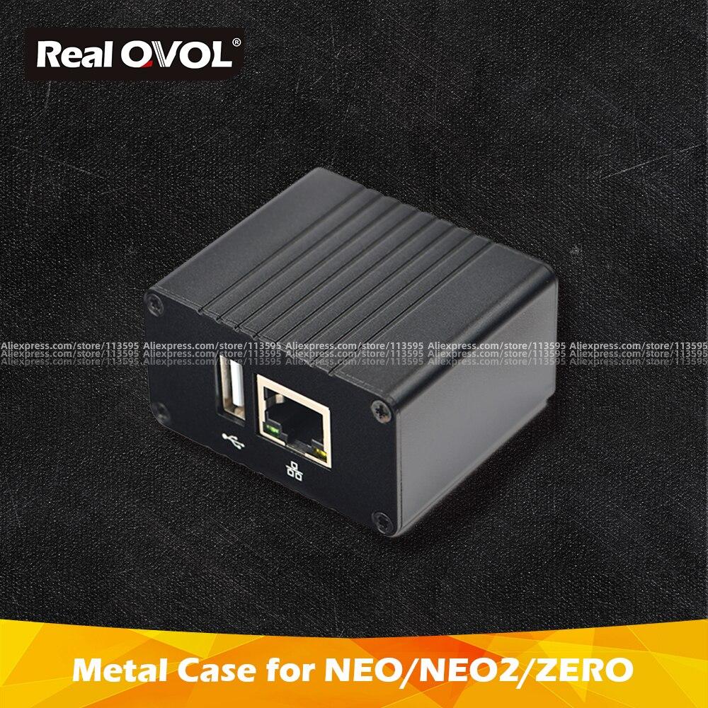 RealQvol FriendlyELEC NEO/NEO2/ZERO/NEO2 Black Demoboard Metal Case Heat Sink Outer Box Case