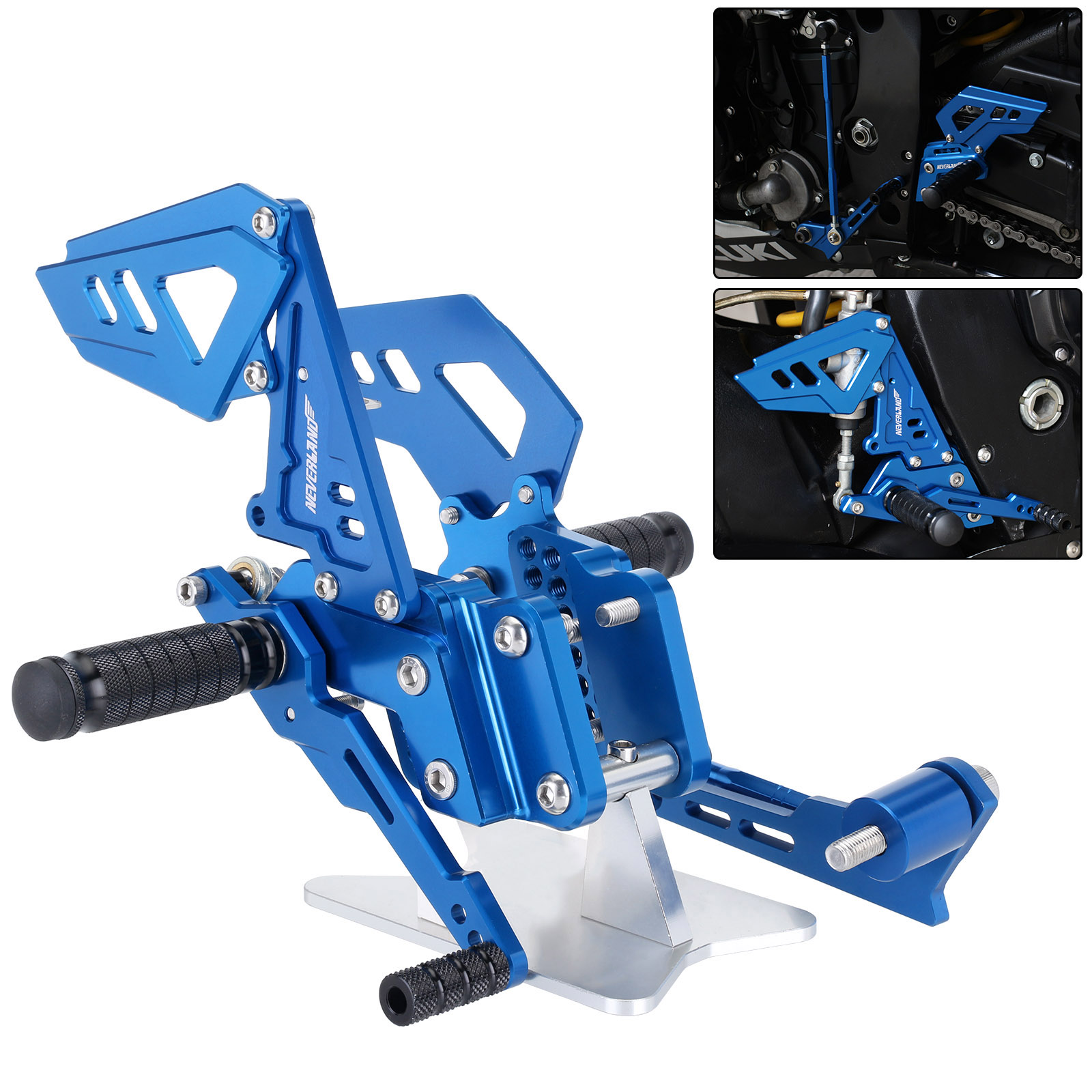 B Blue Black Style Motorcycle Footrest Rear Foot Pedal Pegs Set For Suzuli GSX R 600 750 GSX-R GSXR D40