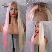 Eewigs metade rosa metade loira peruca dianteira do laço sintético com cabelo do bebê em linha reta resistente ao calor brown raízes ombre perucas para mulher