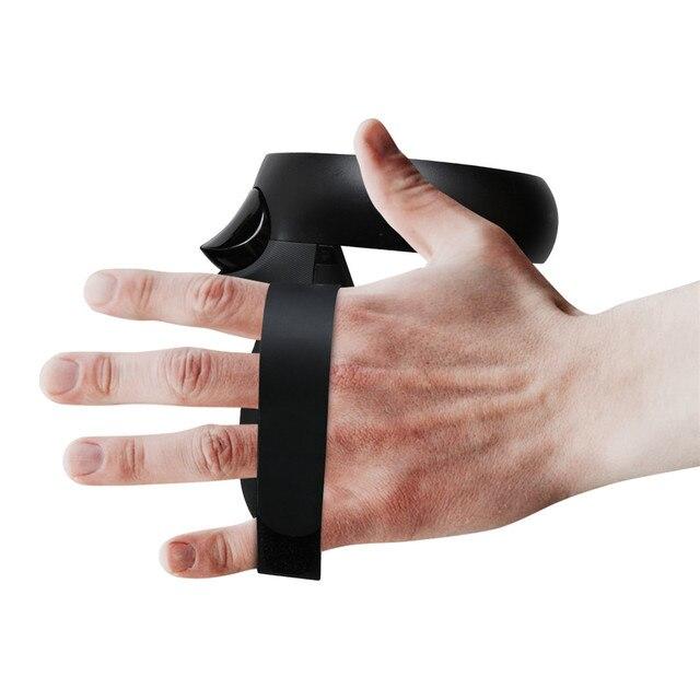 1 para nie-uchwyt antypoślizgowy pierścionki na środek palca paski do Oculus Quest/Rift S T VR kontroler dotykowy akcesoria do uchwytów regulowana opaska