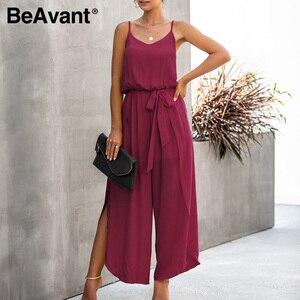 Image 4 - Beove macacão longo estilo boho e casual feminino, macacão de cintura alta e alças espaguete casual, sexy para verão