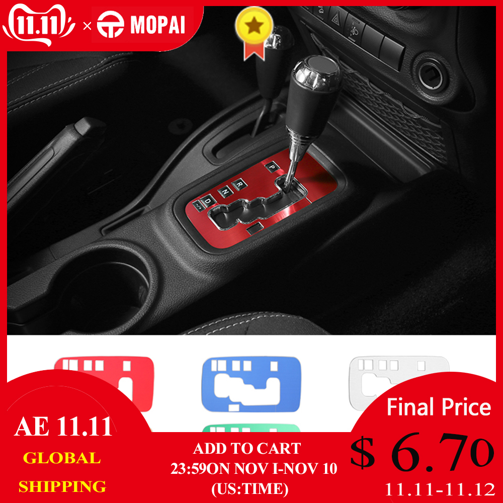 MOPAI Aluminium Interior Gear Shift Panel Decoration Cover Trim Stickers for Jeep Wrangler JK 2011 Up Car Accessories Styling-in Car Stickers from Automobiles & Motorcycles