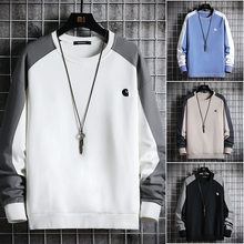 2021 primavera outono homens sweatshirts casual o pescoço na moda streetwear hoodies dos homens retalhos cor moda topos masculino pulôver 4xl
