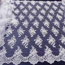 African Laces Fabric with Beads Tulle Lace Fabric 2019 High Quality Lace Nigerian French Lace Fabric for Wedding Dress K W006B