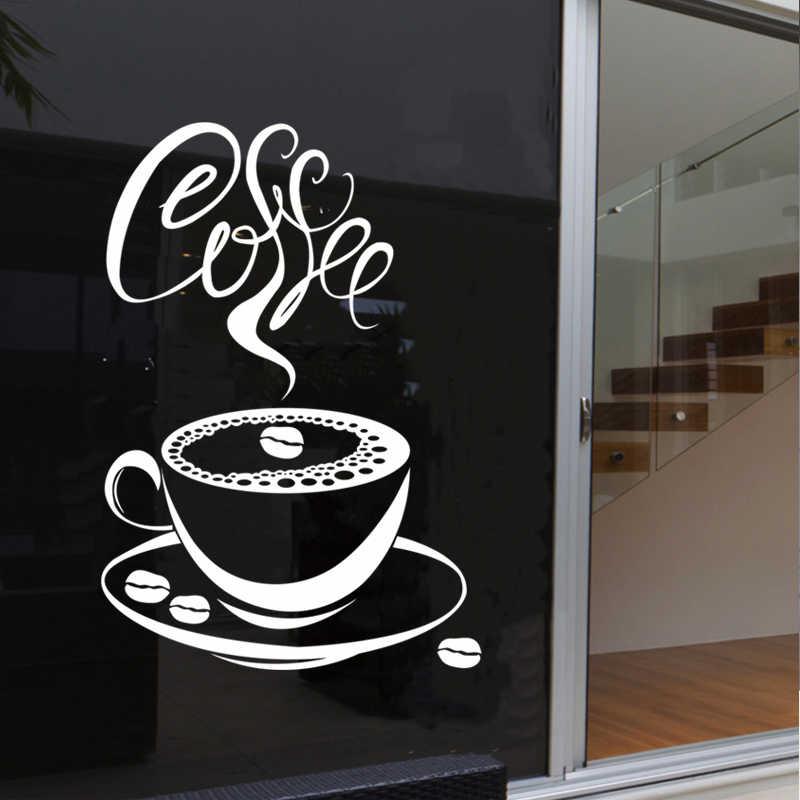 コーヒーショップステッカー豆デカールカフェカップポスタービニールアートウォールステッカー装飾壁画ブレークコーヒーステッカー
