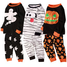 Halloween Pajamas for Kids Boy Christmas Sleepwear Set Children Xmas Pumpkin Mummy Skeleton Toddler Ghost Skull