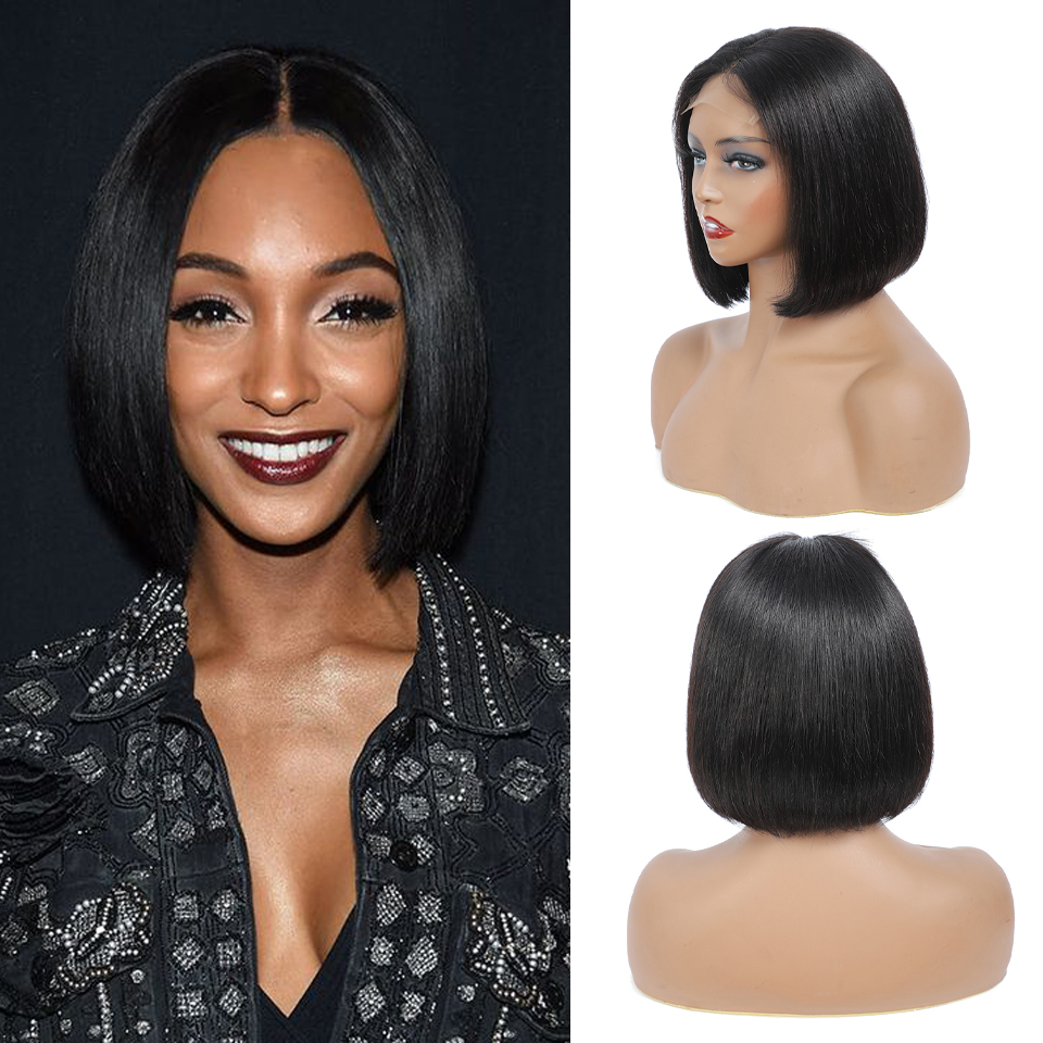 Short Bob Wigs Straight Lace Closure  Wig  Pre Pluck With Baby Hair 4x4 Bob Lace Front Wigs Glueless Lace Wig 1