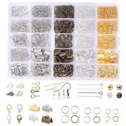 Kit d'accessoires pour fabrication de bijoux, ensemble d'accessoires en alliage, boucle à pince, fermoir à homard, anneaux ouverts, boucles d'oreilles, crochet