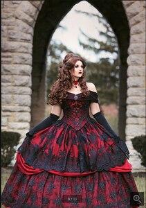 Image 5 - 2020 Robe de mariage vintage noir rouge Robe de bal Robe de mariée gothique hors de lépaule dentelle appliques perlées robes de mariée