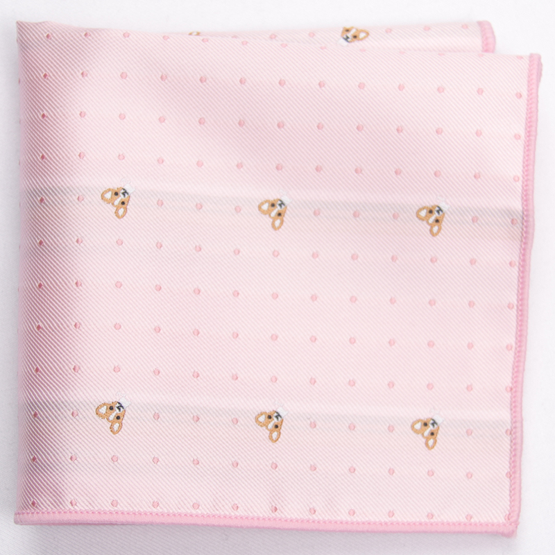 2019 Pink Patterned Pocket Square With Patterns Handkerchief