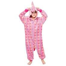 Girls Home Wear Unicorn Pajama Onesie Pink Stars Printing Zipper Overalls Cartoon Animal Kigurumi Children Kids Cute Soft Suit