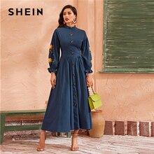 Shein abaya 네이비 자수 세부 랜턴 슬리브 플레어 드레스 여성 가을 버튼 프론트 우아한 라인 제국 맥시 드레스