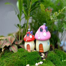 1Pc 4Colors Artificial Mushroom Doll House Fairy Garden Miniatures Terrariums Resin Crafts Figurines For Home Decoration